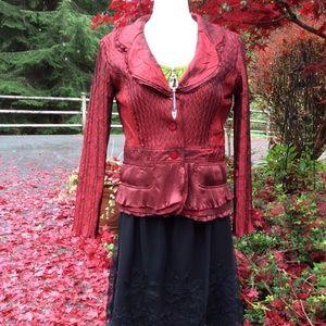 Gorgeous luminescent garnet red top